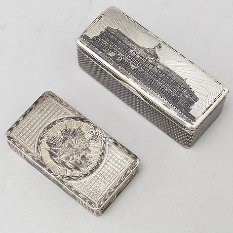 Two russian silver boxes, 19th century.