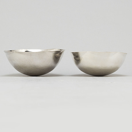 Bengt liljedahl,  2 sterling silver bowls, stockholm 1973 and 1986
