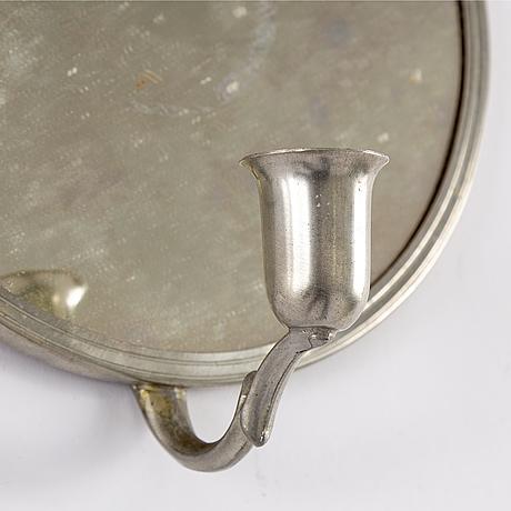 Spegel samt spegellampetter, ett par, tenn, swedish grace, 1930-tal.