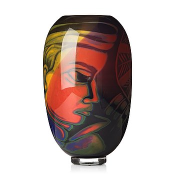 """13. Eva Englund, a """"graal"""" glass vase, Muraya, Sweden 1990's."""