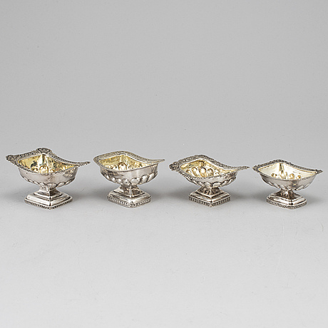 Four russian 19th century parcel-gilt silver salt cellars, st. petersburg and moscow.