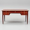 A late gustavian style mahogany veneered writing desk, mid 20th century.