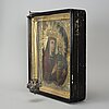 A russian 19th century silver-gilt icon, unidentified makers mark, st. petersburg 1840's.