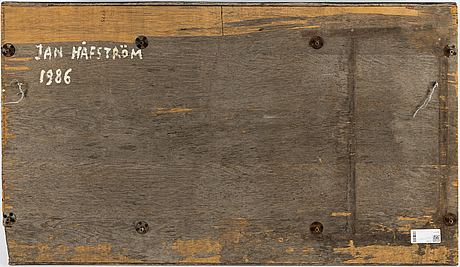 Jan hÅfstrÖm, mixed media and collage on wooden panel, 1986, signed.
