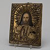 A 19th century icon with silver plated riza.