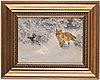 Bruno liljefors, winter landscape with fox and black grouse.