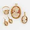 Pendant, pendant and earrings, 18k gold and carved sea shell cameo