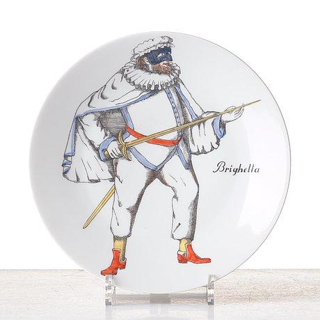 "A set of 12 ""maschere italiane"" porcelain plates, milan, italy."