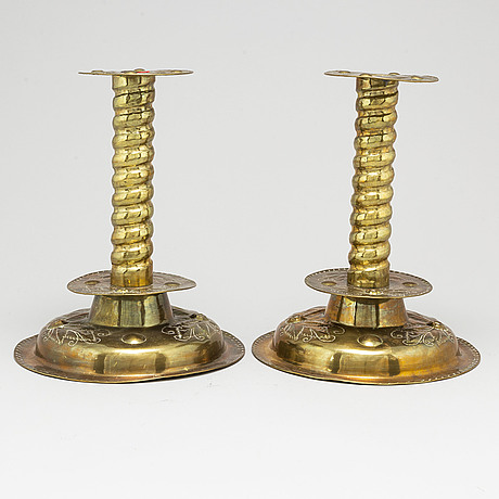 A pair of baroque-style candlesticks, 20th century.