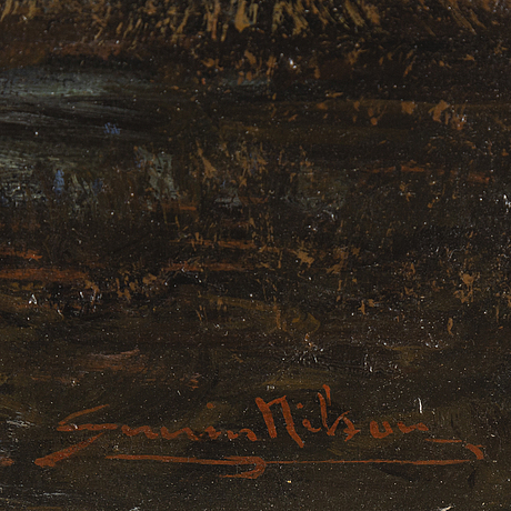 Severin nilson, oil on canvas/ paper-panel, signed.