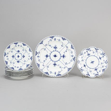 Royal copenhagen, eight 'musselmalet' helblonde  porcelain plates and dishes,  denmark.