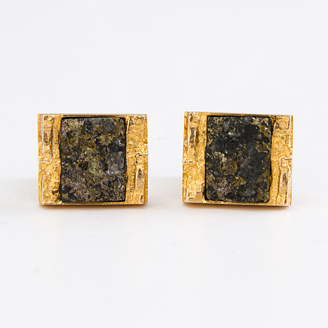 BjÖrn weckstrÖm pair of cufflinks, copper ore, 14k gold. lapponia 1970