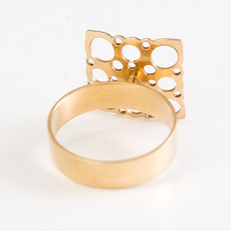 Liisa vitali, two 14k gold pendants and a ring. n. westerback, helsinki 1973