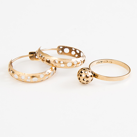 Liisa vitali 14k gold leppäkerttu ring and earrings