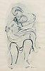 """Karin jaroszynska, """"mor och barn"""", blandteknik på papper, signerad och daterad -65."""