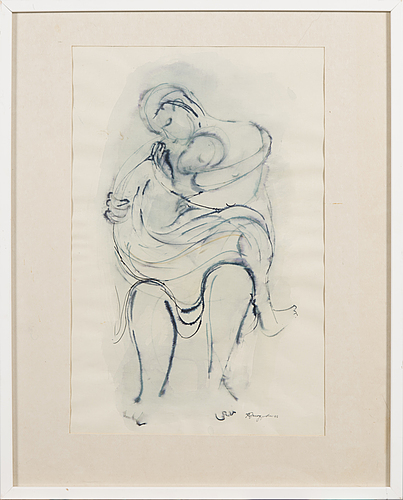 Karin jaroszynska, 'mother and child', mixed media on paper, signed and dated -65.