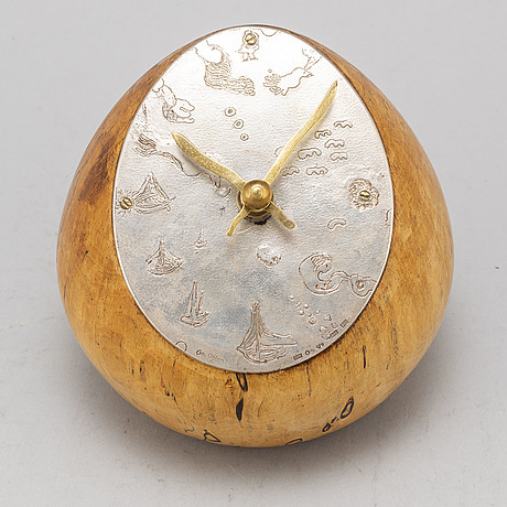 Olle ohlsson, a silver and birch table clock, stockholm 1976