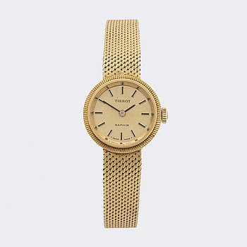TISSOT, Saphir, 18K gold, ladies wristwatch, c:a 20 mm.
