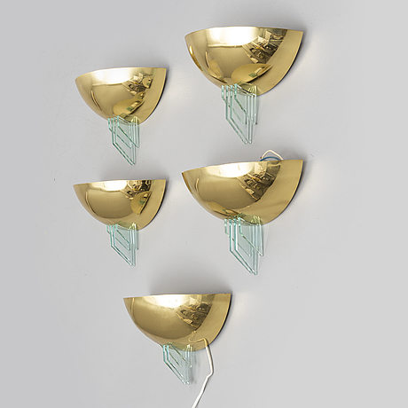 A set of five wall lamps from the late 20th century.