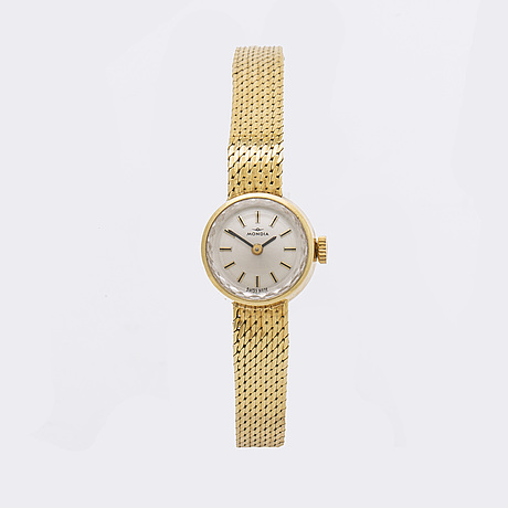 Mondia, ladies wristwatch, 18k gold, switzerland, c:a 16 mm