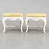 A pair of rococo style stools circa 1900.