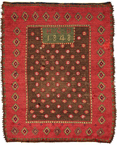 A double-piled rya bed cover, finland, probably åland, ca 174-176,5 x 135-138 cm, signed and dated h:c:d 1848.