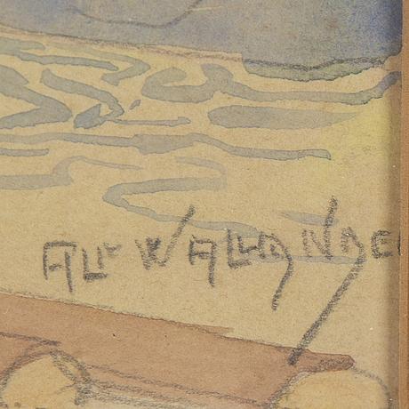 Alf wallander, watercolour, signed.