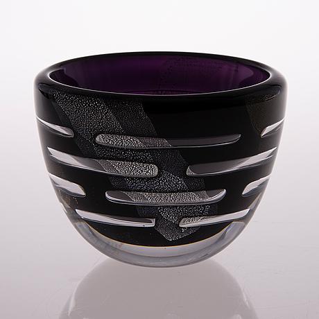 A glass bowl, signed wilke adolfsson 2004.