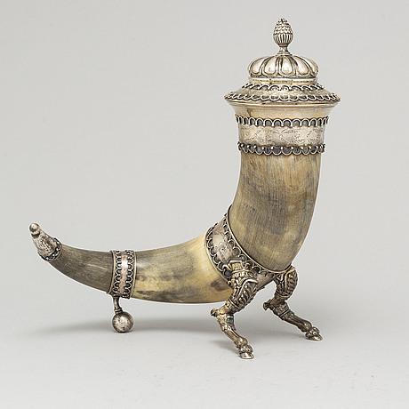 Samuel pettersson, a silver and horn drinking horn, linköping sweden 1895.