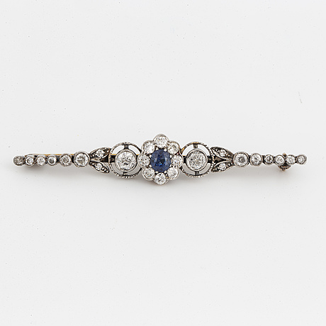 Old cut and brilliant cut and sapphire brooch