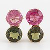 Pink and green round faceted tourmaline earrings