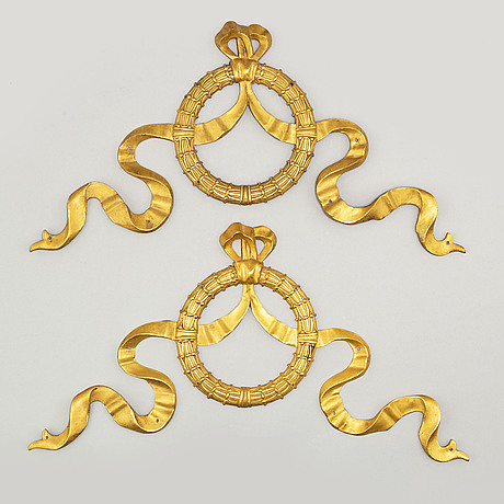 A pair of gustavian style brass decor elements, 20th century