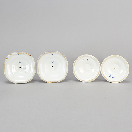 Four (2+2) of porcelain 'blue onion pattern' candle holders, 19-20th century.