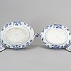 Two large porcelain 'blue onion pattern' tureens with covers, germany, meissen, 20th century