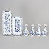 Four 'blue onion pattern' porcelain objects, meissen, germany, 20th century