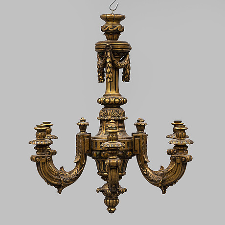 A mid 20th century six light chandelier