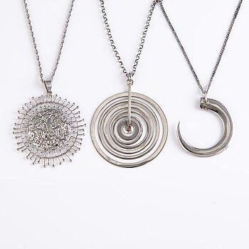TAPIO WIRKKALA, Three Silver necklaces, marks of Kultakeskus.