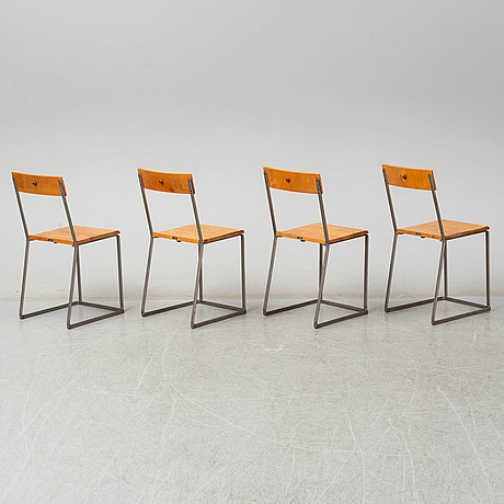 Arthur lindqvist, four chairs from grythyttans stålmöbler, first half of the 20th century