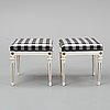A pair of gustavian style stools, second half of the 19th century.