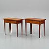 A pair of late gustavian games tables, ca 1800.