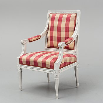 A Gustavian armchair, late 18th century.