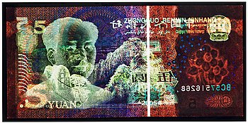"""136. David LaChapelle, """"Negative Currency, 5 Yuan used as Negative"""", 2010."""