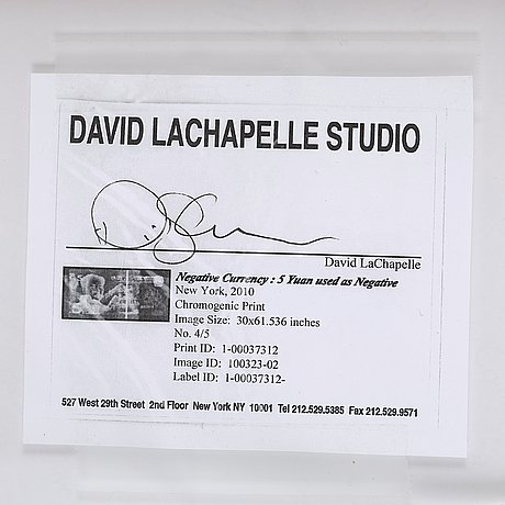 """David lachapelle, """"negative currency, 5 yuan used as negative"""", 2010."""