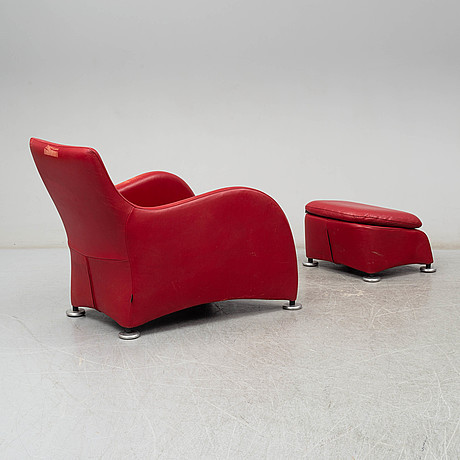 Gerard van den berg, a 'loge' leather upholstered easy chair and ottoman from montis
