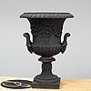 A swedish cast iron garden urn, hofors bruk, ca 1900. diamet.