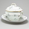 """A northern european  """"barbeau pattern"""" porcelain tureen with cover and dish, 19th century and early 20th century."""