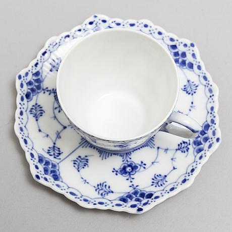 Royal copenhagen, a part 'musselmalet' porcelain coffee and tea service, denmark, second half of 20th century (70 pcs).