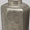 Stop samt flaska, tre   delar, tenn, sverige och tyskland, 1800-tal och omkring år 1800.