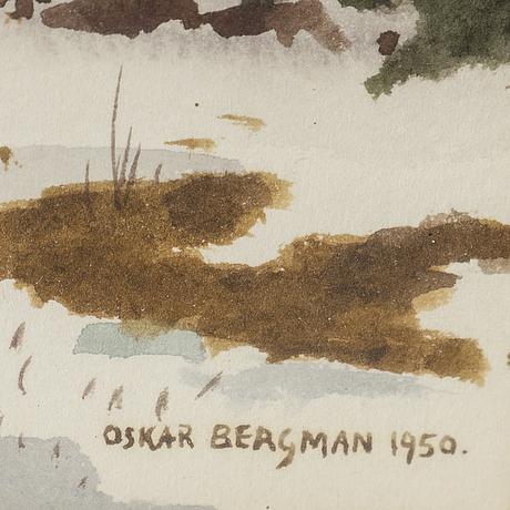 Oskar bergman, watercolour, signed and dated 1950.