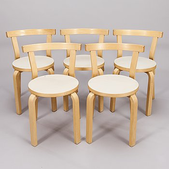 ALVAR AALTO, a set of five model 68 Chairs by Artek, late 20th century.